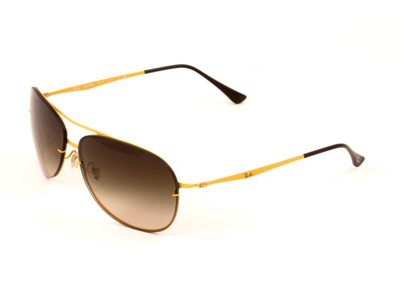 Ray-Ban 8052 Aviator Sunglasses For Men - Gold Frames & Brown Lenses ...