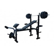 Wansa Fitness Exercise Bench With 50kg Weight Plates – Black