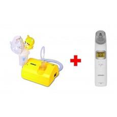 Omron Nebuliser NE-C801S-KD + Omron Ear Thermometer (MC-521-E) – White