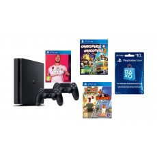 PlayStation 4 1TB + FIFA 20 Standard Edition + 2 DS4 Wireless Controller + Overcooked Double Pack - PlayStation 4 Game + Worms Double Pack: PlayStation 4 Game + PSN Card USA $10