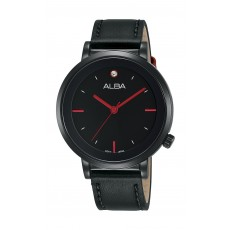 Alba Ladies Fashion Analog 37 mm Leather Watch (AH8389X1) - Black