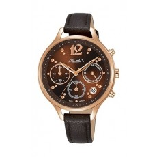 Alba 36mm Chronograph Ladies Leather Fashion Watch - AT3F06X1