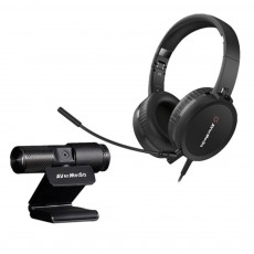 Avermedia Video Conference Kit closed back headphones with full hd webcam