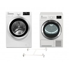 Beko 9KG 1400RPM Front Load Washing Machine + Beko 9 kg Front Loading Freestanding Condensation Dryer + Stacking Unit