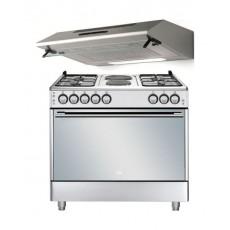 Beko 90 x 60 cm 5 Burners Dual Fuel Gas Cooker + Lagermania 90cm Undercabinet Cooker Hood