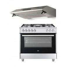 Beko 90X60 5 Burner Gas Cooker + Lagermania 90cm Undercabinet Cooker Hood