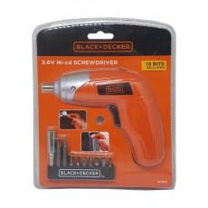 Black + Decker 3.6V Lithium Screwdriver + 10 Bit Set - (KC3610-B5)