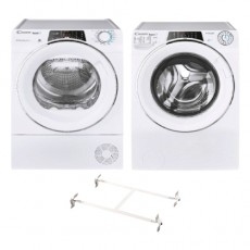 Candy washer 10KG 1600 RPM (RO 16106DWHC7-19) + Candy 10Kg Condenser Dryer - (RO H10A2TCE-19) + Wansa Washer and Dryer Stacking Unit - Stainless Steel