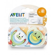 Philips Avent Classic Silicon Soother 2pcs Animal - 6-18m
