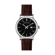Jovial GS2008-33 Sports Analog Gents Watch – Leather Strap – Brown