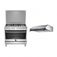 Lagermania 90x60 cm 5-Burner Floor Standing Gas Cooker (TUS95C81CX) + Lagermania 90cm Undercabinet Cooker Hood - Stainless Steel (K90TUSX/19)