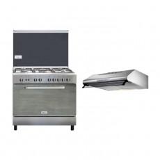 Wansa 90x60cm 5-Burner Floor Standing Gas Cooker (WCI9502214XA) – Stainless Steel + Lagermania 90cm Undercabinet Cooker Hood - Stainless Steel (K90TUSX/19)