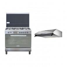 Wansa 90x60cm Gas Cooker (WCI9502124XA) – Stainless Steel + Lagermania 90cm Undercabinet Cooker Hood - Stainless Steel (K90TUSX/19)