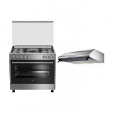 Beko 90X60 4 Burner + 1 Wok Gas Cooker (GG 15125 FX) - Grey + Lagermania 90cm Undercabinet Cooker Hood - Stainless Steel (K90TUSX/19)