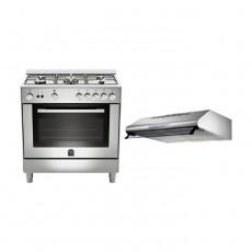 Lagermania 80x50 cm 5-Burner Floor Standing Gas Cooker (TU85C31DX) + Lagermania 80cm Under-Cabinet Cooker Hood