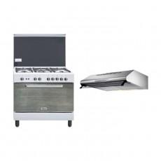 Wansa 90x60cm Gas Cooker (WCI9502124WA) – White + Lagermania 90cm Under-Cabinet Cooker Hood