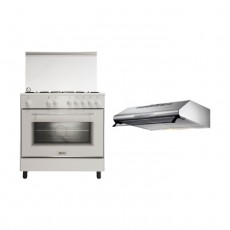 Wansa 80x50 5-Burner Floor Standing Gas Cooker (WE8050W) + Lagermania 90cm Under-Cabinet Cooker Hood
