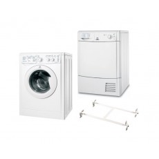 Indesit 8kg 1400RPM Ecotime Front Loading Washing Machine + Indesit 8kg Condenser Dryer  + Wansa Washer and Dryer Stacking Unit