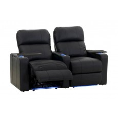 Kustom Tech Leather Arm Power Recliner (Row of 2 Seats) - Black