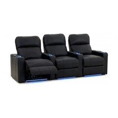 Kustom Tech Leather Arm Power Recliner (Row of 3 Seats) - Black