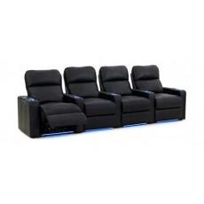 Kustom Tech Leather Arm Power Recliner (Row of 4 Seats) - Black