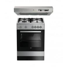 Beko 60X60 4 Burner Gas Cooker + Indesit 60cm Cooker Hood