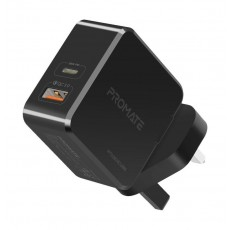 Promate Power Cube 36W Fast Charging Dual Port Wall Charger with Type-C USB - Black