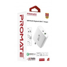 Promate PowerCore-60 Multi-Regional USB-C Quick Charge - White