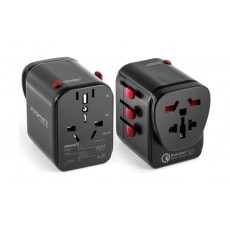 Promate TripMate-PD18 Multi-regional Travel Adapter - Black