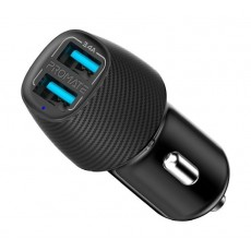 Promate VolTrip-Duo 3.4A Car Charger With Dual USB Ports - Black