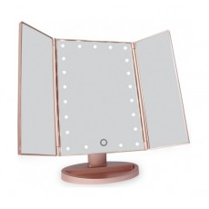 JYD Trifold Vanity LED Makeup Mirror - Rosegold