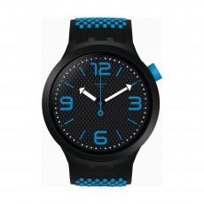 Swatch Bbblue Quartz Analog 47mm Unisex Rubber Watch (SO27B101)