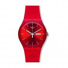 Swatch Red Rebel Quartz Analog 41mm Unisex Rubber Watch (SUOR701)