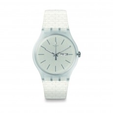 Swatch Bricablanc Quartz Analog 41mm Unisex Rubber Watch (SUOW710)