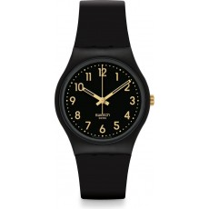 Swatch 34mm Analog Unisex Rubber Watch (SWAGB274) - Black