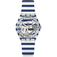 Swatch 34mm Analog Unisex Rubber Watch (SWAGE270) - White