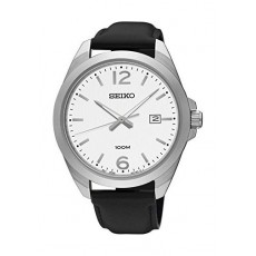 Seiko UR213P Gents Quartz Analog Watch – Leather Strap – Black
