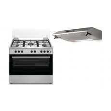 Wansa 90x60cm 5 Burners Free Standing Gas Cooker + Lagermania 90cm Undercabinet Cooker Hood