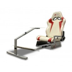 GTR Simulator Touring Model Simulator with Silver Frame and Adjustable Leatherette Racing Seat - White/Red