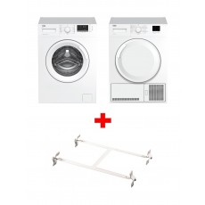 Wansa Washer and Dryer Stacking Unit - Stainless Steel + Beko 7kg Front Load Washing Machine - WTV7612BW + Beko 7KG Front Loading Freestanding Condenser Dryer (DTGC7000W) - White