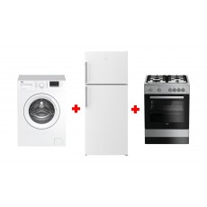 Beko 17 Cft Top Mount Refrigerator + Beko 60X60 4 Burner Gas Cooker + Beko 7kg Front Load Washing Machine