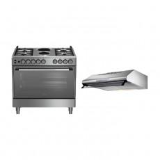 Beko 90X60cm Cooking range 2 Hotplate 4 Gas Burners (GG 12120 FX) - Stainless Steel + Lagermania 90cm Undercabinet Cooker Hood - Stainless Steel (K90TUSX/19)