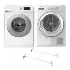 Indesit Front Load 8KG 1400 RPM Washer (MTWE 81483 WS GCC) + Indesit 8kg Condenser Dryer (YT CM08 8B GCC) - White +  Wansa Washer and Dryer Stacking Unit - Stainless Steel