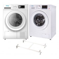 Wansa Gold 8kg Front Load Washing Machine - White + Wansa Gold Condenser Dryer 8KG (WGFCD807WHT-C10) + Wansa Washer and Dryer Stacking Unit - Stainless Steel
