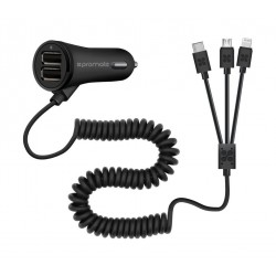 Promate Charger-Trio 3-in-1 Universal Car Charger 0with Dual USB Ports – Black