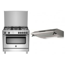 Lagermania 90x60 5-burner Stainless Steel Gas Cooker + Lagermania 90 x 60 Cooker Hood