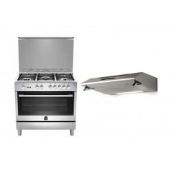 Lagermania 90x60cm 5-burner Gas Cooker and Oven + Lagermania 90 x 60 Cooker Hood Stainless Steel