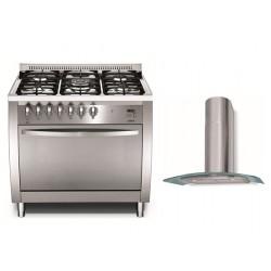 Lofra cooker - 90 x 60 cm + Lofra Dahlia 90cm Chimney Type Cooker Hood
