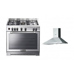 Tecnogas 90x60 Gas Cooker + Technogas 90cm Chimney Type Cooker Hood Stainless Steel