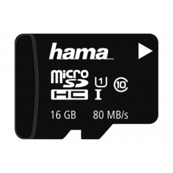 Hama MicroSDHC 16GB 80MBs Class 10 Memory Card  Without Adapter (124147)